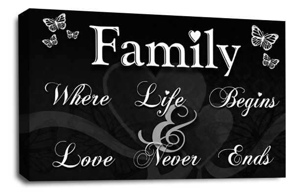 Black white grey family quote canvas wall art picture print