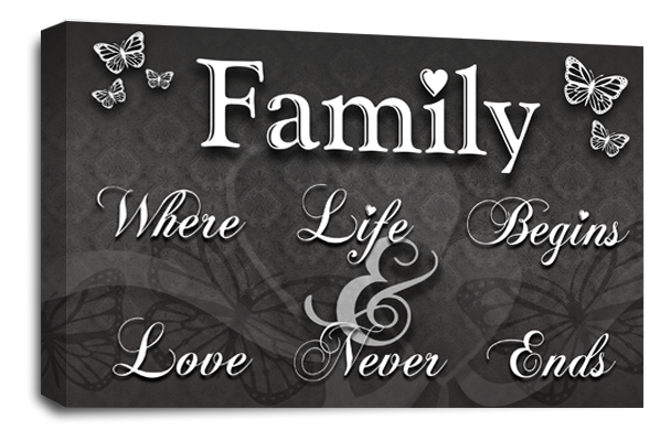 Family Quote White Canvas Wall Art Picture Prints Single Panel