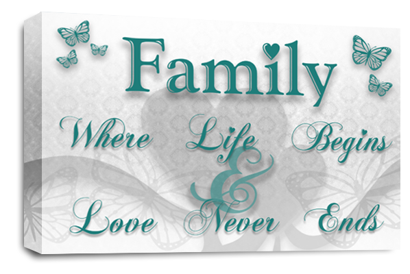... White Grey Teal Family Quote Canvas Wall Art Picture Print