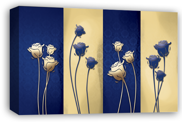 Blue cream large floral flowers canvas wall art picture print