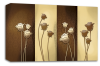 Brown cream floral flowers canvas wall art picture print