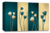 Teal cream floral flowers panel canvas wall art picture print