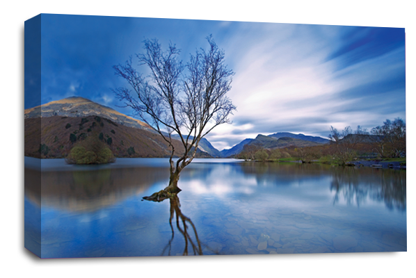 Blue Grey Black Cream Landscape lake mountains canvas wall art picture print