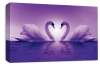 Purple Love heart kissing swans canvas wall art picture print