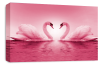 Pink Love heart kissing swans canvas wall art picture print