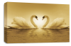Sepia Love heart kissing swans canvas wall art picture print