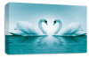 Teal Love heart kissing swans canvas wall art picture print
