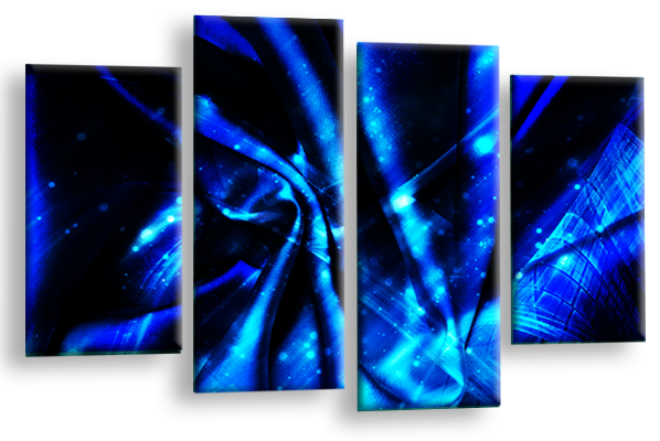 Black Blue Grey Abstract canvas wall art multi panel