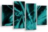 Teal Grey Abstract canvas wall art multi panel