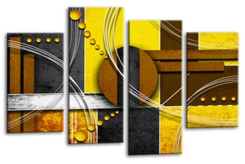 Abstract circles mustard yellow grey white canvas wall art picture print
