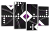 Black White Grey Purple abstract diamond stripes canvas wall art picture print multi panel
