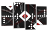 Black White Grey Red abstract diamond stripes canvas wall art picture print multi panel