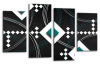 Black White Grey Teal abstract diamond stripes canvas wall art picture print multi panel