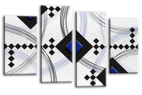 White blue black grey abstract diamond stripes canvas wall art picture print multi panel