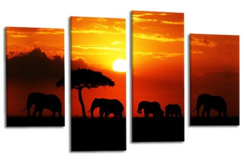colourful sunset aftrican elephants multi panel wall art picture print