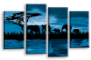 Blue sunset aftrican elephants multi panel wall art picture print