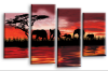 sunset aftrican elephants multi panel wall art picture print