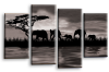 2 tone grey sunset aftrican elephants multi panel wall art picture print
