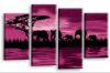 Purple sunset aftrican elephants multi panel wall art picture print
