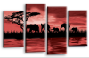 red sunset aftrican elephants multi panel wall art picture print