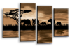 Sepia sunset aftrican elephants multi panel wall art picture print