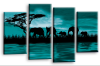 Teal sunset aftrican elephants multi panel wall art picture print