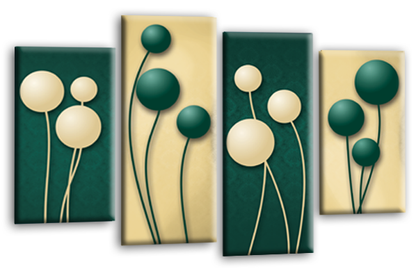 Cream green abstract floral canvas wall art picture print multi panel