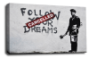 Banksy canvas wall art cancelled dreams grey black white