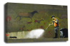 Banksy canvas wall art graffiti remover green red grey black white