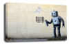 Banksy canvas wall art graffiti robot grey black white