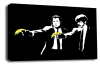 Banksy canvas wall art pulp fiction banana gun grey black white