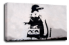 Banksy canvas wall art rapper rat grey black white