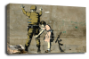 Banksy canvas wall art girl and soldier grey black white