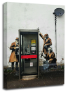 Banksy canvas wall telephone spies grey black white