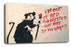 Banksy canvas wall art student rat grey black white