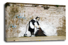 Banksy canvas wall arsweeping it under the carpet grey black white