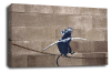 Banksy canvas wall art tight rope rat grey black white