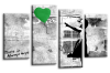 Banksy green balloon girl canvas wall art picture print multi pane