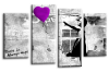 Banksy purple balloon girl canvas wall art picture print multi panel