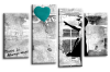 Banksy teal balloon girl canvas wall art picture print multi panel