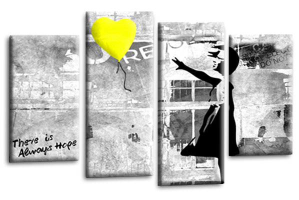 Banksy yellow balloon girl canvas wall art picture print multi panel