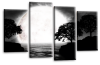 Big moon water reflection canvas wall art picture print black white grey