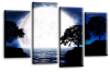 Big moon water reflection canvas wall art picture print blue black white
