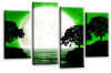 Big moon water reflection canvas wall art picture print Green black white