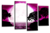 Big moon water reflection canvas wall art picture print Purple black white