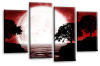 Big moon water reflection canvas wall art picture print red white grey