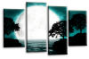 Big moon water reflection canvas wall art picture print teal black white