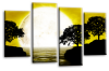 Big moon water reflection canvas wall art picture print yellow mustard black white