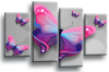 Powder grey pink butterfly canvas wall art picture print multi panel