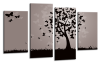 Grey Black Abstract butterfly tree canvas wall art picture print multi panel